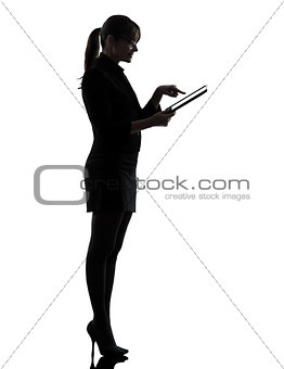 business woman computer computing  typing digital tablet silhouette
