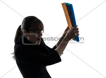 business woman  shielding behind  folders files silhouette