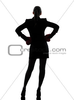 business woman ready fighting boxing gloves silhouette