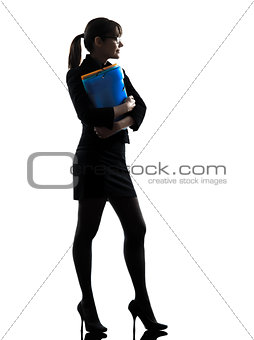business woman holding folders files standing  silhouette