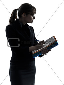 business woman  holding folders files writing silhouette