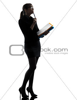 business woman  thinking holding folders files silhouette