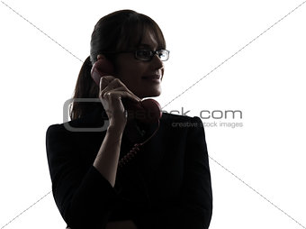 business woman telephone silhouette