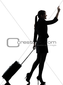 business woman  traveling walking   hailing silhouette
