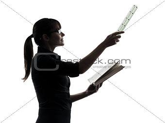 business woman teacher presentation silhouette