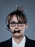 business woman secretary gag with headset telephone