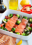Fresh salmon and vegetables