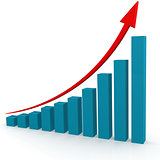 Red arrow on blue graph