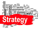 Strategy word cloud with red banner