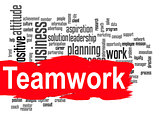 Teamwork word cloud with red banner