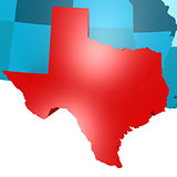 Texas map on blue USA map