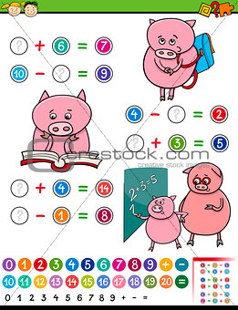 algebra game cartoon illustration