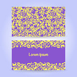 Two cards with abstract ornament in yellow and violet colors