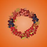 Illustration of wreath with bunches of berries and autumn leaves
