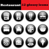Set of glossy restaurant icons