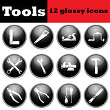 Set of tools glossy icons