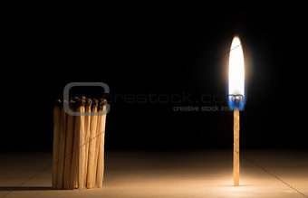 Crowd of burnt  matches standing before match on fire concept of