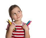 cute little girl holding colourful pencils and markers looking u