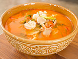 Tom Yum Kung thai spicy seafood soup