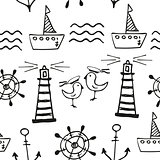 Sea seamless pattern. Hand-drawn Doodles