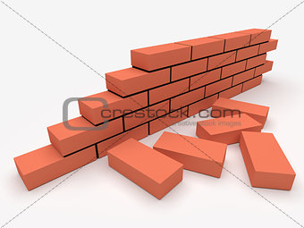 Brick wall. Concept of building and construction.