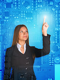 Businesswoman pressing on holographic screen