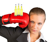 Businesswoman in boxing gloves