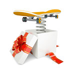 Gift box with red band and skateboard on spring
