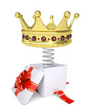Gift box with red band and crown on spring