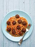 rustic american italian meatball spaghetti