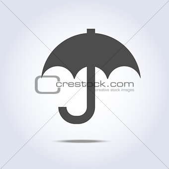 Gray color umbrella simple icon