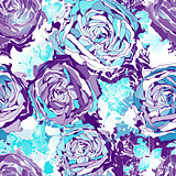 Seamless flowers wallpaper pattern. Vector background in blue. EPS 10.