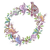Vector Floral Frame with bird. Wreath perfect for wedding invitations and birthday cards.