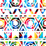 Vector retro pattern of geometric shapes. Seamless tribal texture. EPS 10