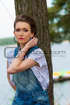 casual female in vacation at lake