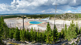 Panoramic scenic view of Grand Prismatic spring in Yellowstone,