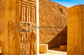 Ancient hieroglyphs carved in stone walls, Hatshepsut temple,