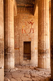 Hieroglyph walls and stone pillars in Queen Hatshepsut temple,