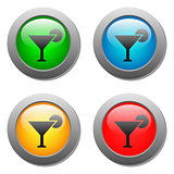 Wine glass simple icon on buttons set