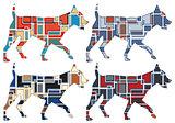 Trotting dog mosaics