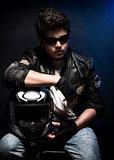 Stylish teen biker portrait