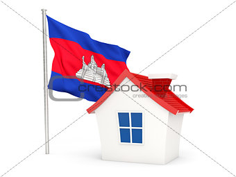 House with flag of cambodia