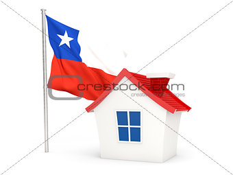 House with flag of chile