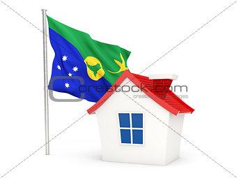 House with flag of christmas island