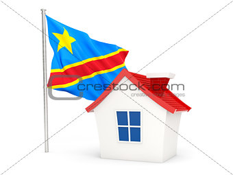 House with flag of democratic republic of the congo