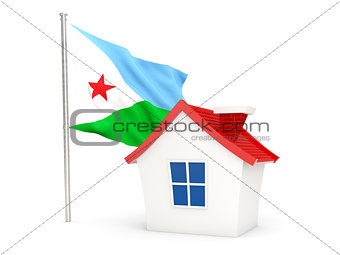 House with flag of djibouti