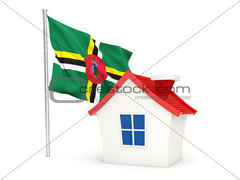 House with flag of dominica
