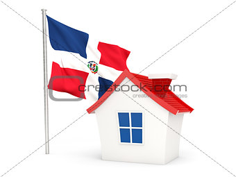 House with flag of dominican republic