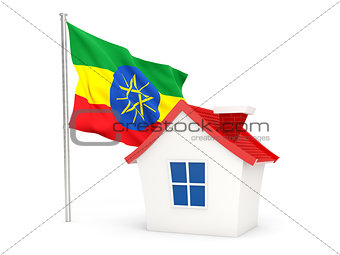 House with flag of ethiopia