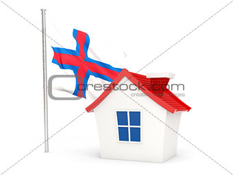House with flag of faroe islands